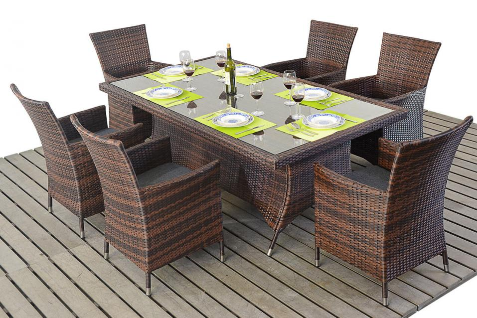 Prestige Rattan Rectangle Dining Table 6 Chairs