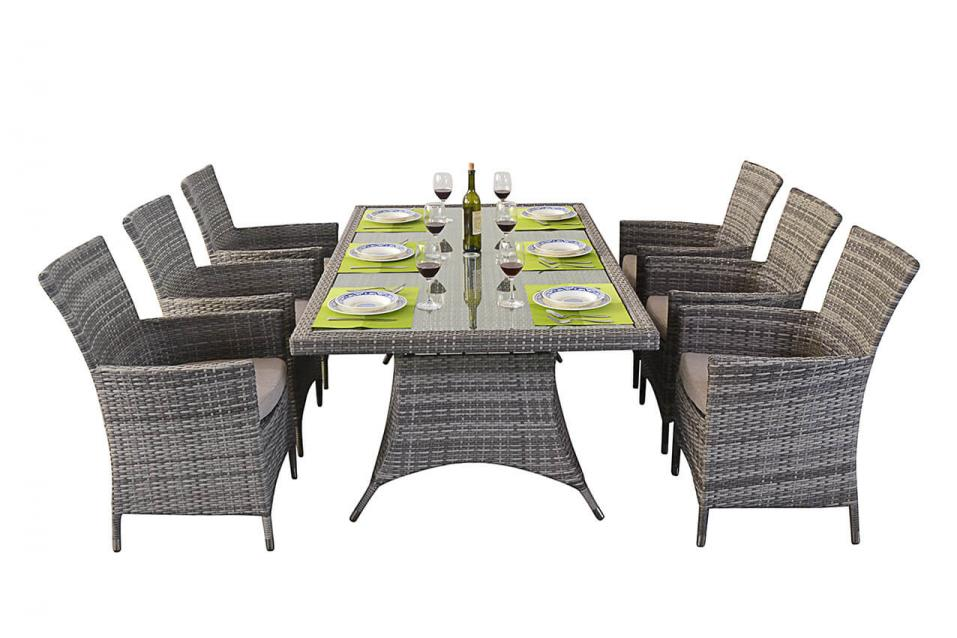 Rustic Rattan Rectangle Dining Table 6 Chairs Patio Life