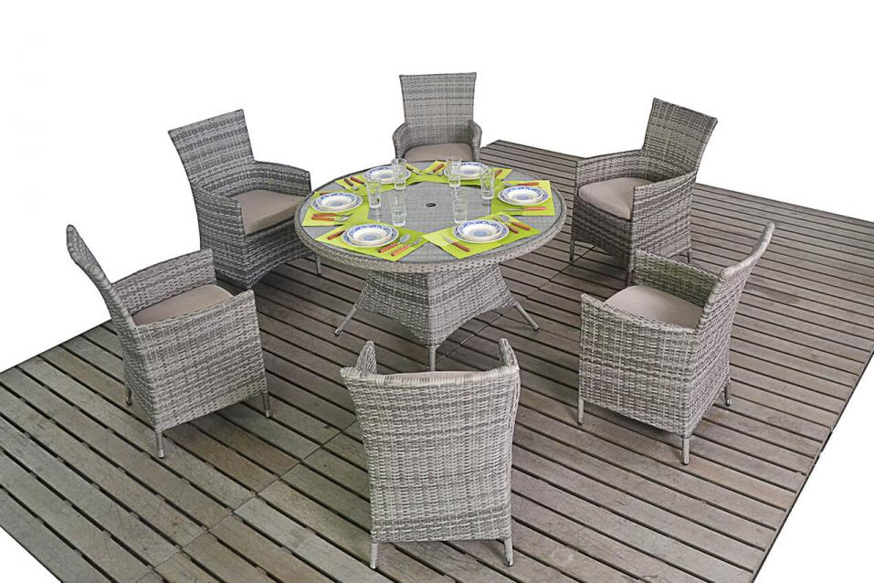 Rustic Rattan Round Dining Table & 6 Chairs