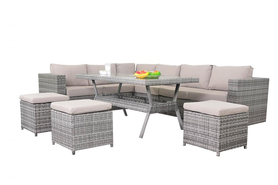 Rustic Rattan Table Corner Sofa Dining Set Patio Life
