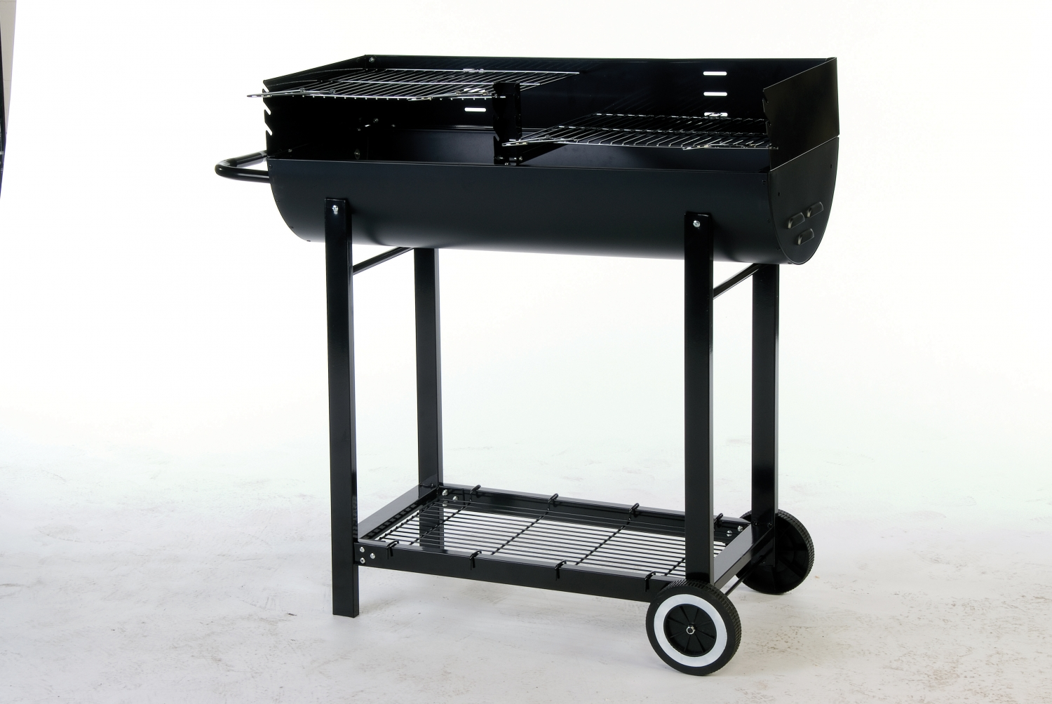 lifestyle half oil drum charcoal bbq with wheels patio life. Black Bedroom Furniture Sets. Home Design Ideas