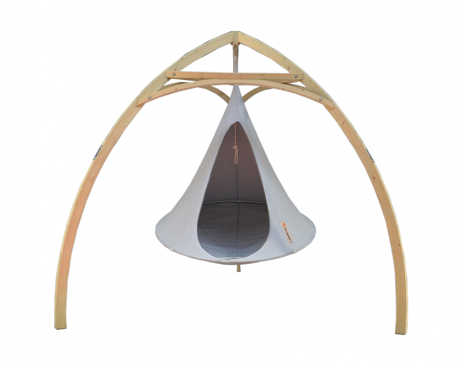 Cacoon tripod wood frame for hanging tent patio life for Wood tents