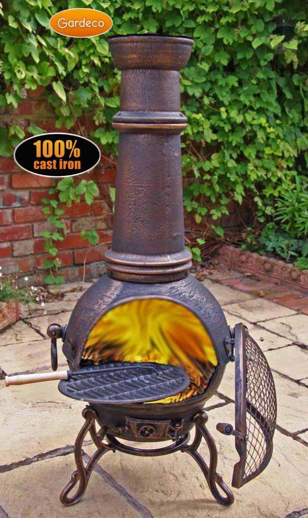Patio Life Gardeco Large Toledo Cast Iron Chiminea With Grill Bronze
