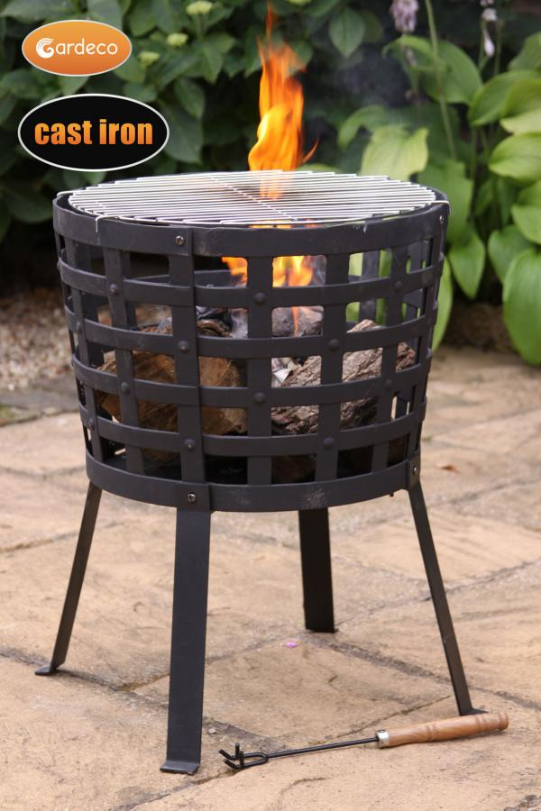 Gardeco Aragon Case Iron Firepit Basket Patio Life