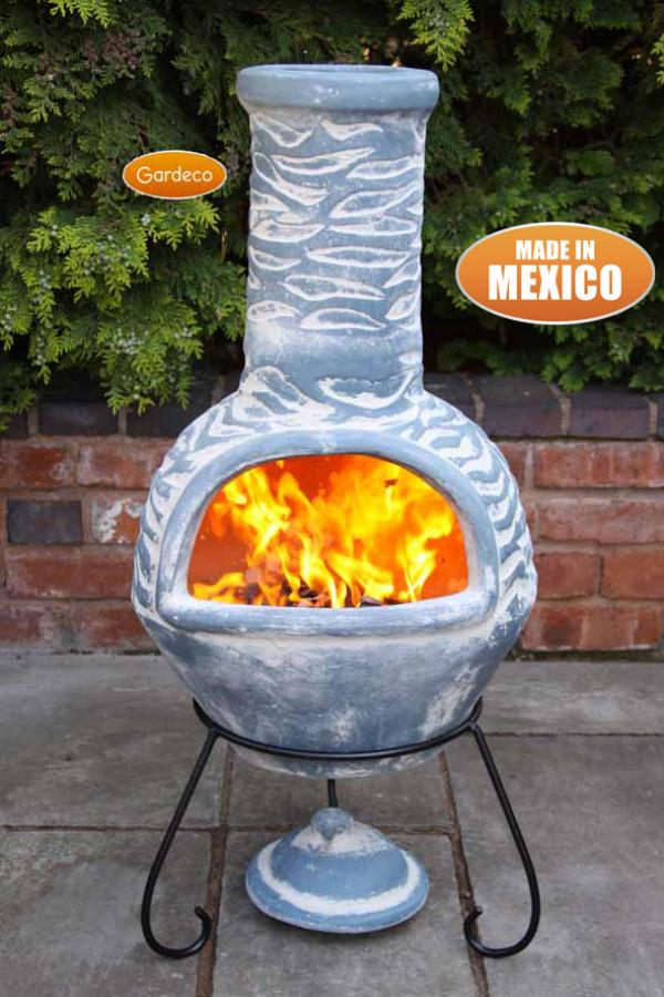 Gardeco Large Olas Mexican Chiminea Bluey Grey Patio Life