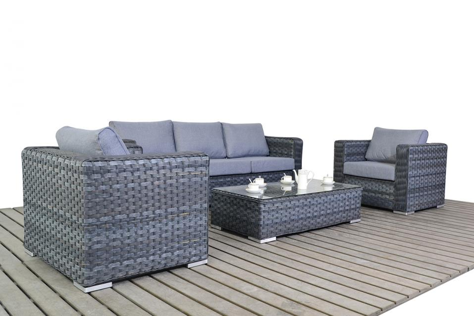 patio life platinum rattan grey large sofa set coffee table. Black Bedroom Furniture Sets. Home Design Ideas
