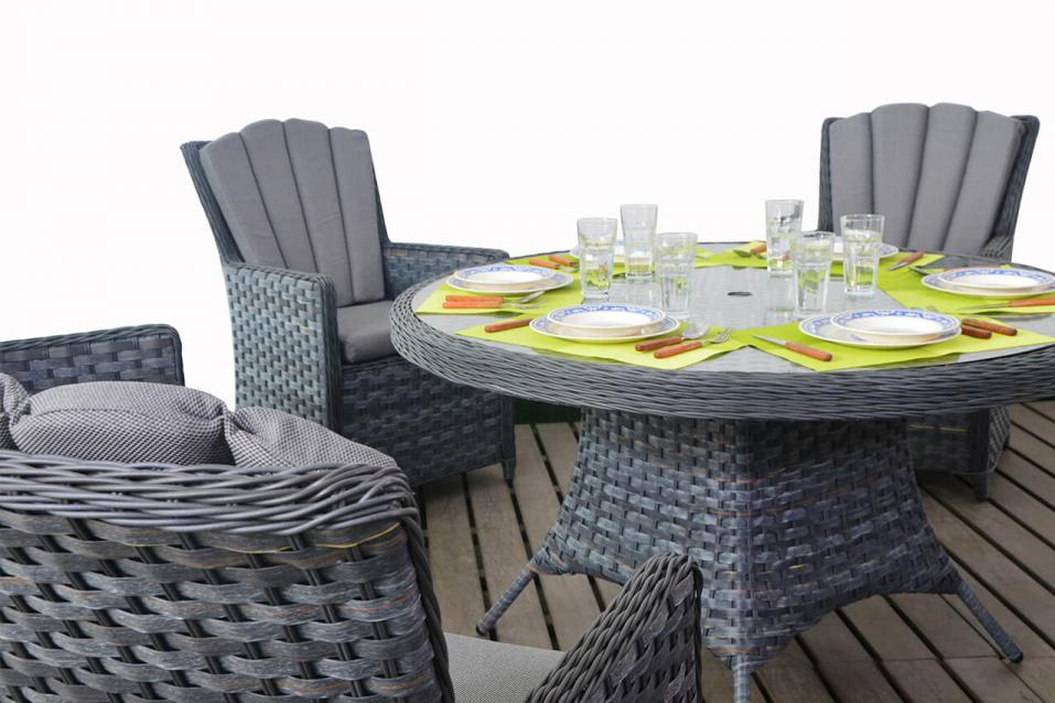 Platinum Rattan Round Dining Table Amp Chairs Patio Life