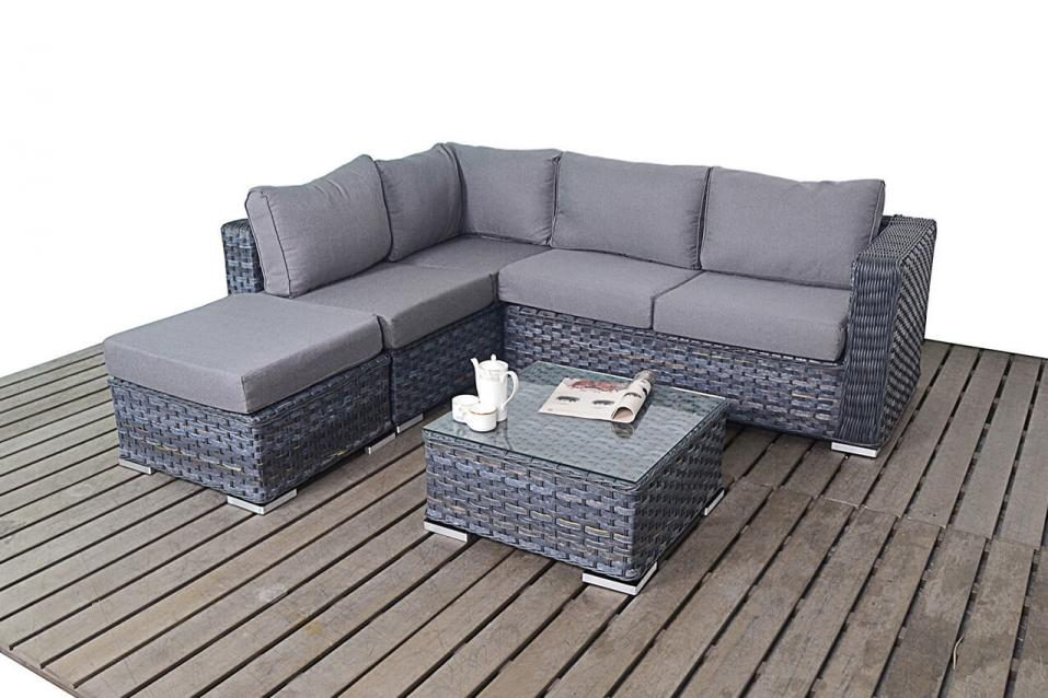 Patio Life Platinum Rattan Small Corner Sofa Amp Coffee Table