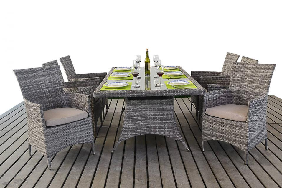Patio Life Rustic Rattan Rectangle Dining Table Amp 6 Chairs