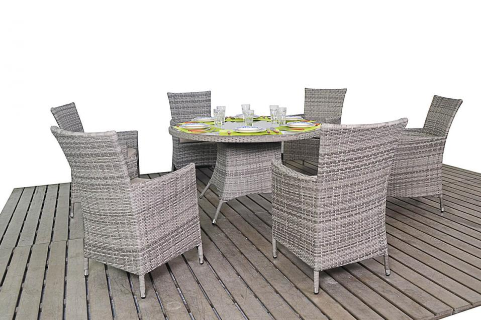 Patio Life // Rustic Rattan Round Dining Table & 6 Chairs (4-6 weeks ...