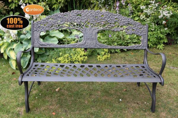 Gardeco Cast Iron Garden Bench Tree, Cast Iron Garden Furniture