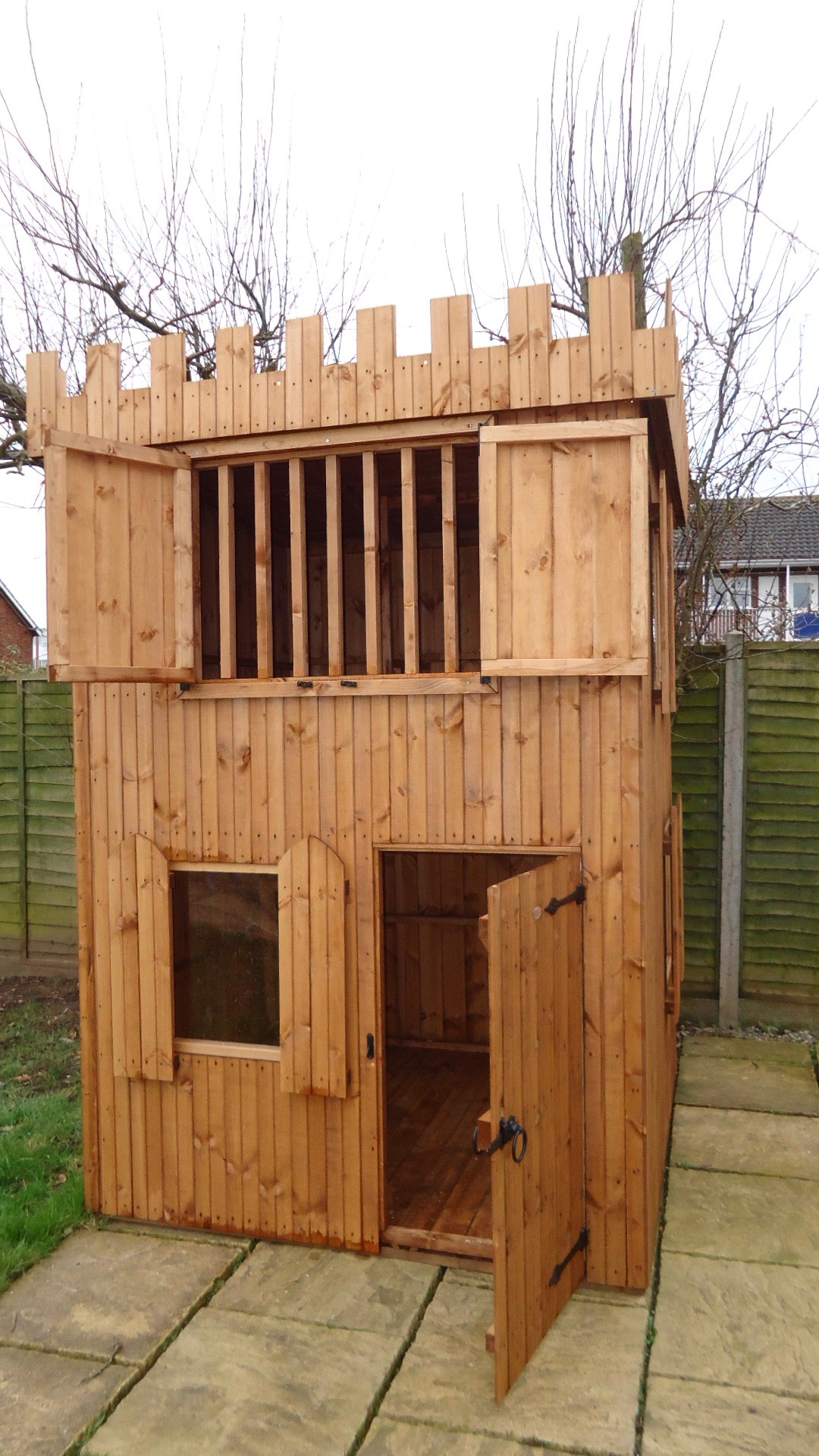 Castle Kids Wooden Garden Playhouse Shed