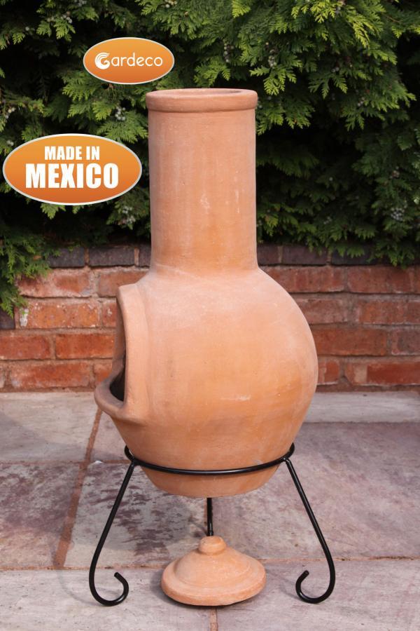 Gardeco Large Mexican Chimenea Colima Terracotta Patio Life
