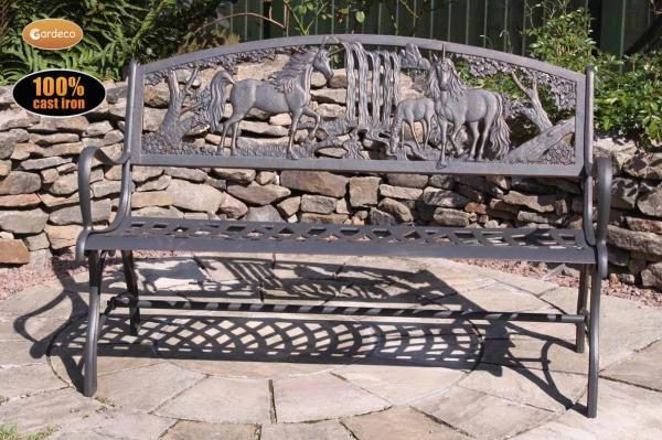 Gardeco Cast Iron Bench With Unicorns Patio Life